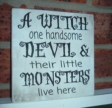 shabby vintage chic halloween witch & devil little monsters fun sign