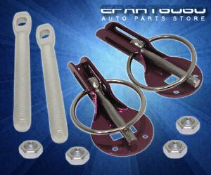 Anodized Purple Aluminum Security Hood Lock Pins Ring Kit Miata MX-5 RX-7 RX-8