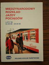 POLAND Employee International Train Timetable 1996 Rozkład jazdy pociągów PKP