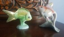 Vintage Hungarian Hollohaza Porcelain Fish Figurines Pair Very Nice!