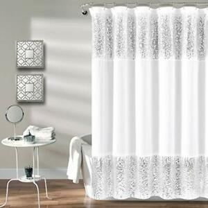 Lush Decor, Silver Shimmer Sequins Shower Curtain | Chic Sparkle Design for B...