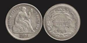 USA: 1873 Half Dime United States of America silver Seated Liberty 5c