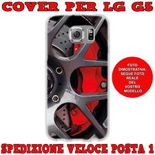 CUSTODIA COVER GOMMA MORBIDA IN TPU SILICONE PER LG G5 FANTAS DISCHI FRENI ROSSI