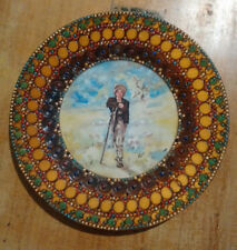 Wooden plate pyrography, hand-painted, vintage Romanian Folk Art, pastoral scene