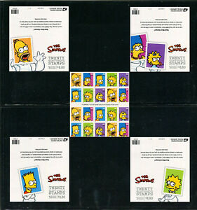 US #4399-4403 (4403b), 2009 44c The Simpsons, 4 Panes with Different Covers MNH