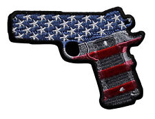 9MM Hand Gun Pistol Embroidered Iron On Patch - Patriotic US Flag Biker 048-I