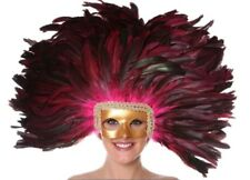 Shocking Pink Coque Feather Showgirl Vegas Headdress Gold Mask Costume Accessory