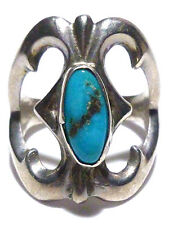 ANTIQUE OLD LARGER STERLING SILVER SANDCAST NAVAJO TURQUOISE SHIELD RING SZ 7.75