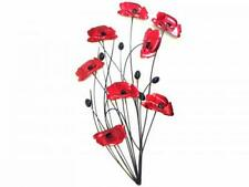 Metal Wall Art Decor Picture - Red Poppies Bunch with Black Stems Poppy Flower