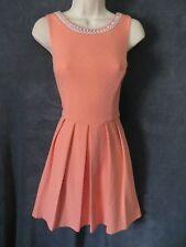 Alya Peach Textured Diamond Thick Stretch Beaded Pearl V Back Mod Formal Dress M