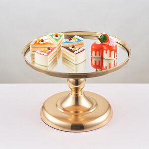 Mirror Metal Gold Stand Round Cake Cupcake Wedding Birthday Party Dessert Holder