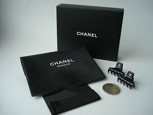 Authentic Chanel  Beaute  hair clip set claw clips  in shimmer black pouch  VIP