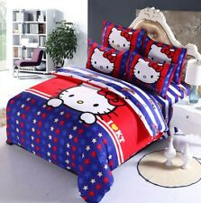3D Star Hello Kitty Kids Bedding Set Duvet Cover Bed Sheet twin full queen
