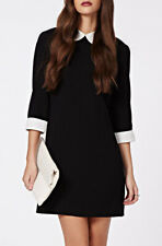 Womens Black Monochrome Peter Pan Collar 3/4 - Sleeve Skater Block Mini Dress