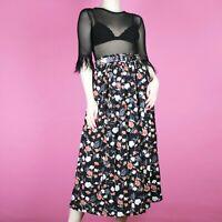 VINTAGE Black Floral White Pink Pattern Midi 90s 80s Print Grunge Skirt XS 6 8