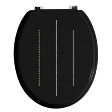 BRAND NEW DIAMANTE WOOD TOILET SEAT BLACK CRYSTAL BLING