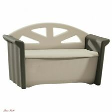 Patio Storage Bench Front Porch Rubbermaid Olive And Sandstone Outdoor Brown New