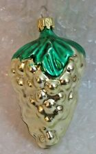 """VINTAGE CHRISTMAS GLASS ORNAMENT 2.5"""" FEATHER TREE GRAPE CLUSTER GOLD"""