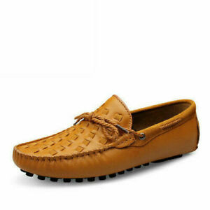 Men Faux Leather Drawstring Slip On Casual Flat Shoe Breathable Loafer Round Toe