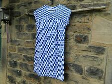 MARIMEKKO  Nuoto cotton jersey shift dress in blue and white MEDIUM BNWoT