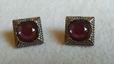 VINTAGE MJENT SIGNED SILVERTONE EARRINGS PURPLE FACETED STONE EXUC!