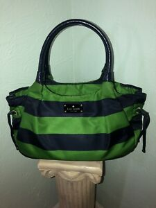 Large Kate Spade Purse! JUBILEE STRIPE Navy & Green EUC