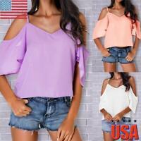 Women Cold Shoulder Short Sleeve Ruffle Loose Blouse Summer Casual Tops Cami USA