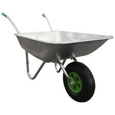 Large Galvanized Steel Wheelbarrow Garden Wheel Trolley Barrow Cart Trailer Tyre