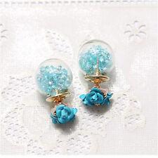 1Pair Fashion Women Elegant Double Sides Rose Crystal Glass Ear Stud Earrings