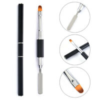 Black Nail Brush Pen Dual-ended Slice Shape Tool LED UV Manicure Set