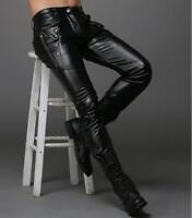 Men's PU Leather Slim Fit Black Pants Motorcycle Zipper Studs Trousers Size28-36