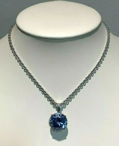 "Sterling 15"" cable chain with round 30 carat Light Blue Synthetic Spinel"