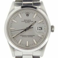 Mens Rolex Date Stainless Steel Watch Silver Dial Oyster Band Quickset 15000