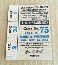 Willie Stargell HR #31 Home Run 1964 9/20/64 Giants Pirates Ticket Stub