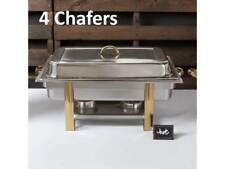 (4-Pack) 8 Qt. Stainless Steel Full Size Gold Accent Chafers Chafing Dishes