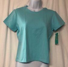 Caslon Women's Petite Short Sleeve Aqua Blue T Shirt Size S NWT