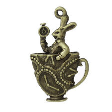 Bronze Rabbit Teacup Charms 30mm 4 Pieces Alice in Wonderland, Tea Party