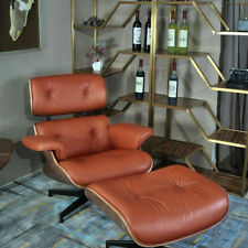 Walnut eames style lounge chair & ottoman Genuine leather Armchair Tan
