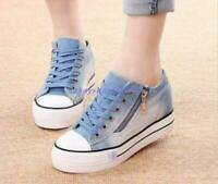 New Womens Round Toe Lace Up Sneakers Platform Wedge Heels Denim Canvas Shoes Sz