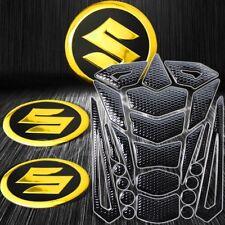 "24PCs Black+Chromed Gold Fuel Tank Pad+2"" 3D Suzuki Logo Fairing Emblem Stickers"