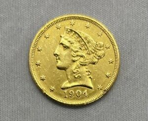 1904 P Half Eagle, $5 Gold Liberty Head, Free Shipping Included