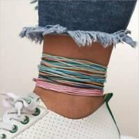 6Pcs/Set Boho Ethnic Handmade Multicolor String Cord Woven Braided Bracelet NEW