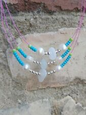 White Sea glass & freshwater  pearls Three Strand Wire necklace