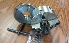 """6"""" 4-JAW SELF-CENTERING  LATHE CHUCK w. L00 adapter back mounting plate-new"""