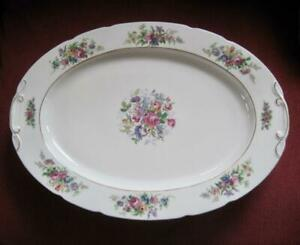 """CCC Imperial Bohemian Floral 9"""" X13"""" Oval Platter Made in Czechoslovakia"""
