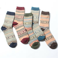 5 Pairs Chic Mens Wool Blend Socks Thick Warm Casual Soft Winter Cashmere Casual