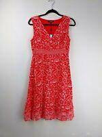 Maine New England Red Floral Dress UK 10 Sleeveless Wrap Tea Dress BNWT