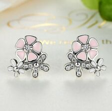 Women's Silver Floral Diamond Daisy Pink Peach Studs Earring PWedding Jewellery