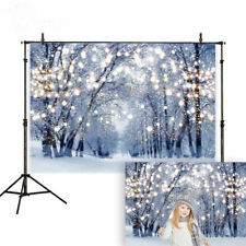 Winter Photography Background Glitter Forest Christmas tree Snow Backdrops 7x5ft
