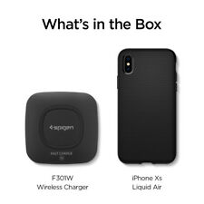 For iPhone XS, XS MAX, XR Bundle Spigen [Clear OR Black Case + Wireless Charger]